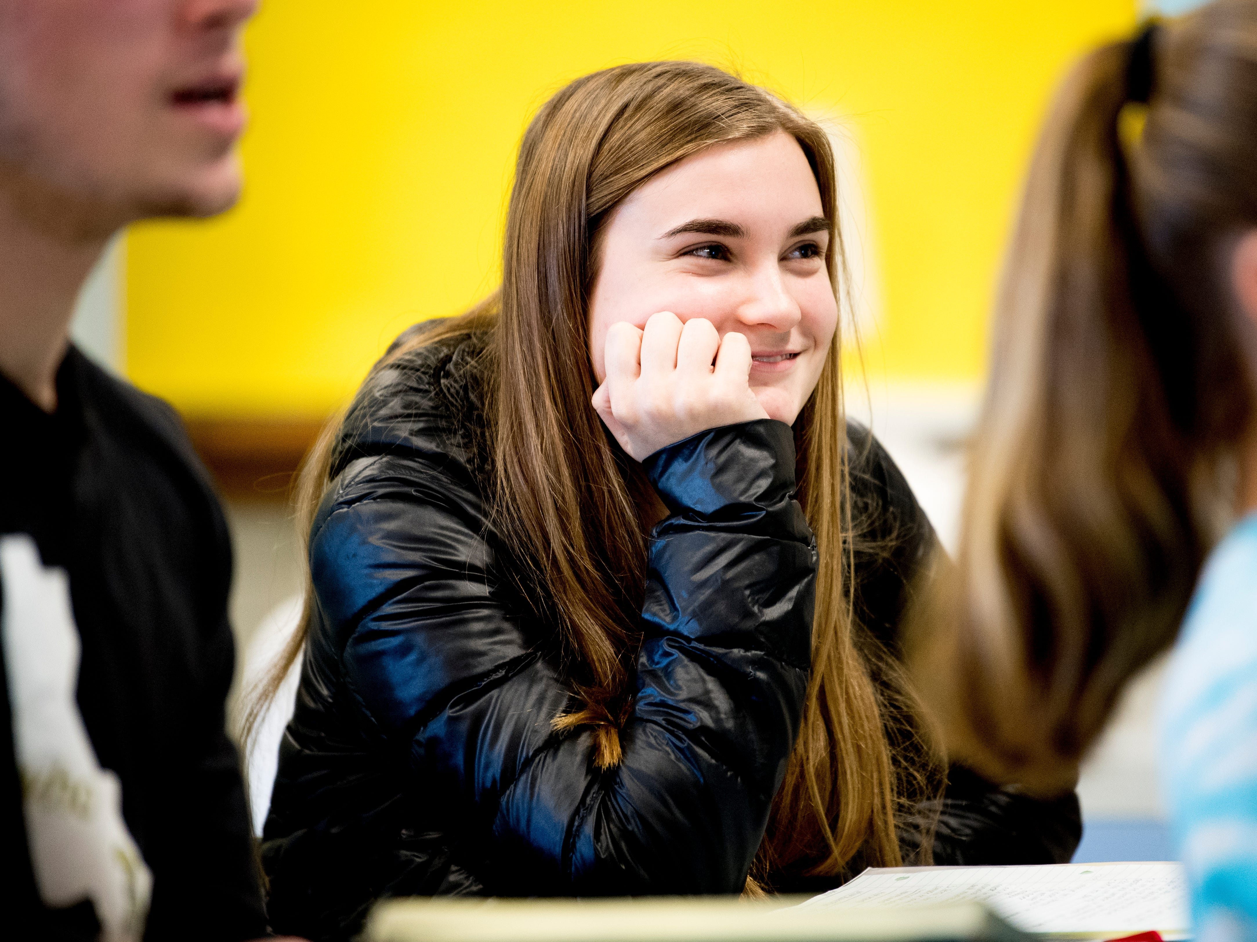 Maryville senior Maemae smiles during Anita Crook's medical therapeutics class at Maryville High School in Maryville, Tennessee, on Friday, January 11, 2019. More time with teachers as well as time to study and work on homework are some of the benefits students enjoy when on block schedules.