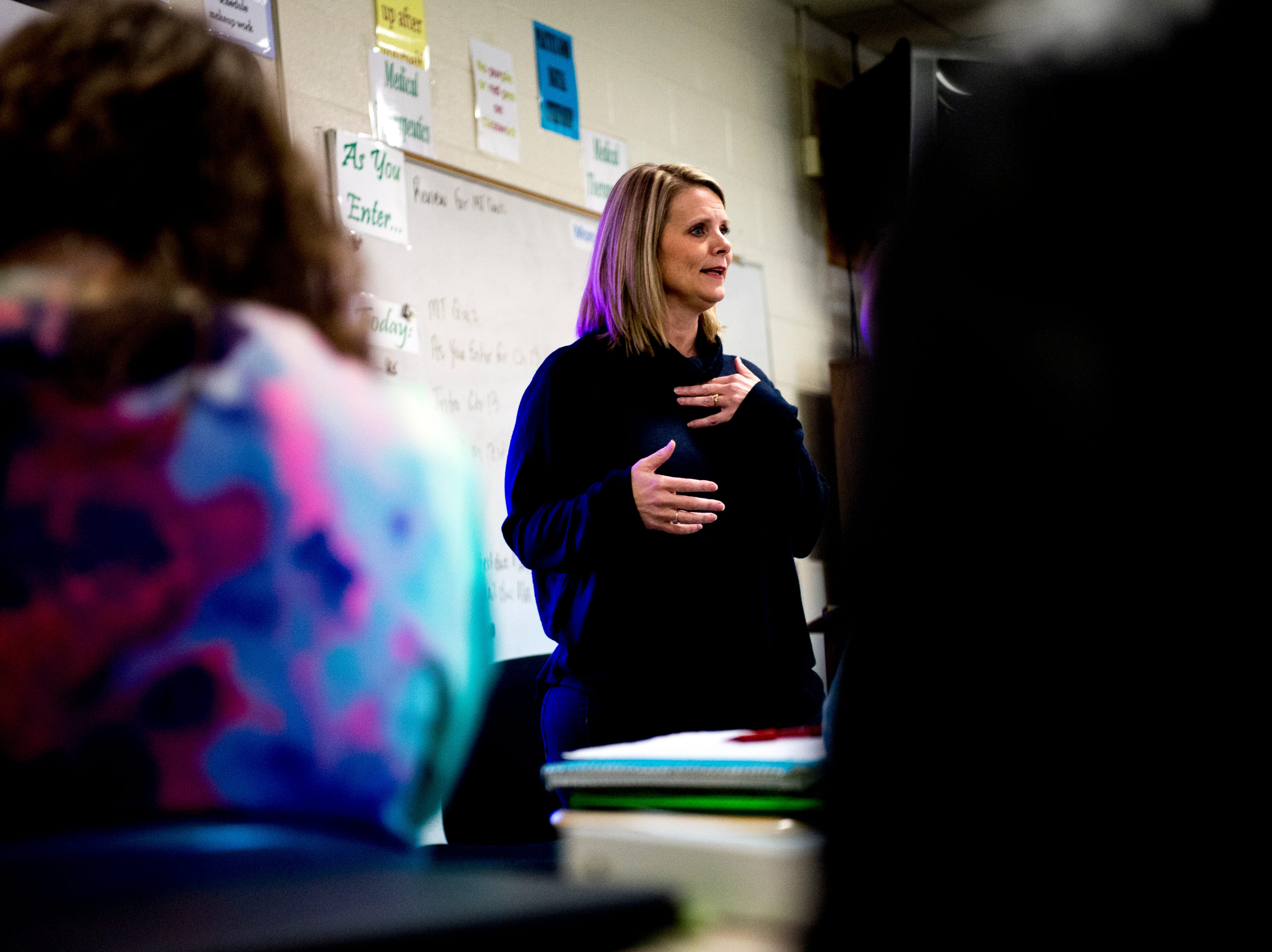 Anita Crook teaches her Medical Therapeutics class at Maryville High School in Maryville, Tennessee, on Friday, January 11, 2019. More time with teachers as well as time to study and work on homework are some of the benefits students enjoy when on block schedules.
