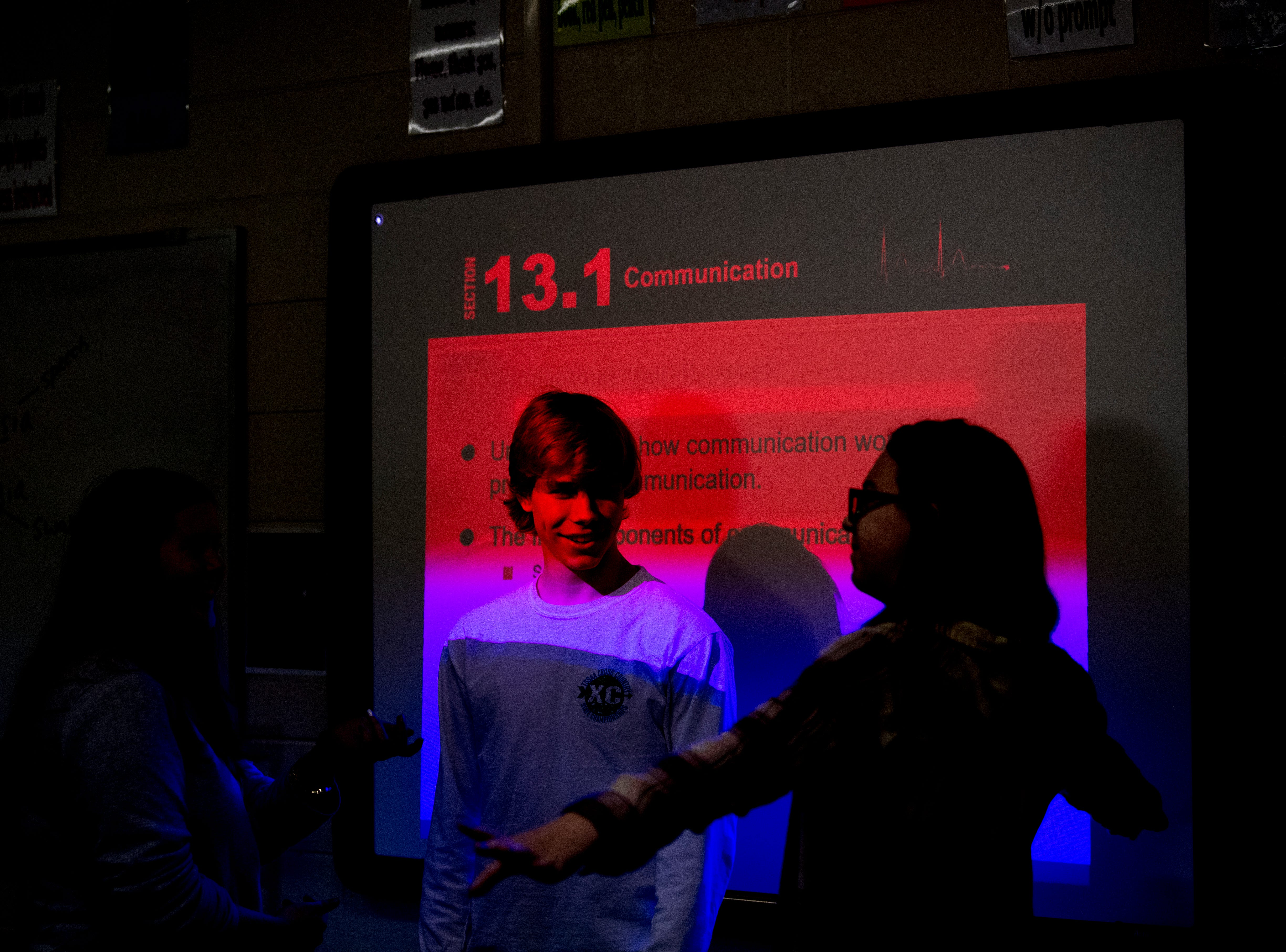 Maryville senior Jacob presents a demonstration with classmates in Anita Crook's medical therapeutics class at Maryville High School in Maryville, Tennessee, on Friday, January 11, 2019. More time with teachers as well as time to study and work on homework are some of the benefits students enjoy when on block schedules.