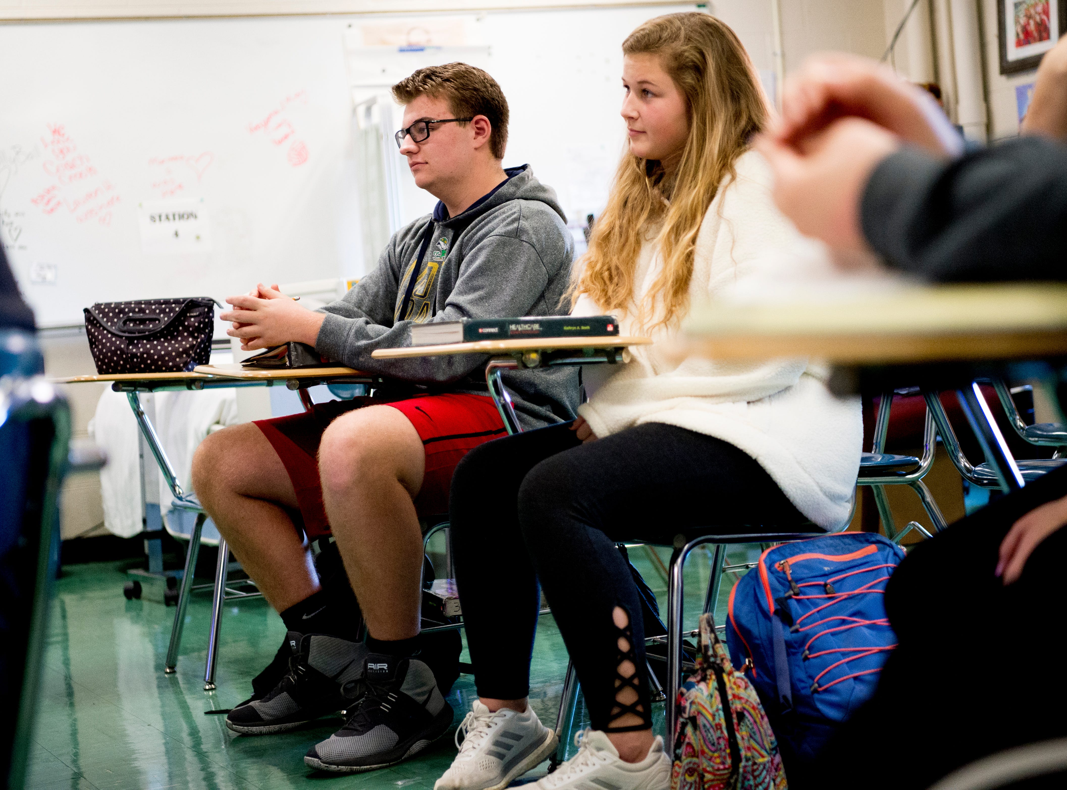 Students listen in Anita Crook's medical therapeutics class at Maryville High School in Maryville, Tennessee, on Friday, January 11, 2019. More time with teachers as well as time to study and work on homework are some of the benefits students enjoy when on block schedules.