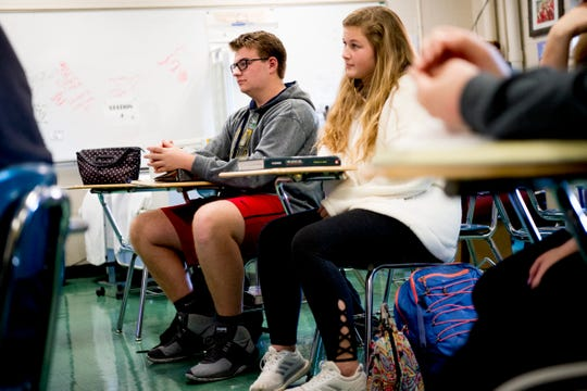 Students listen in Anita Crook's medical therapeutics class at Maryville High School.