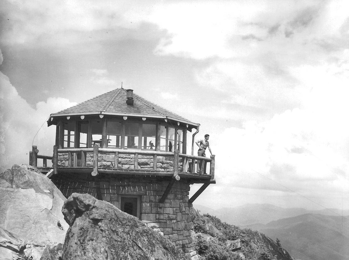 The Mount Cammerer fire tower in the Great Smoky Mountains National Park is seen in a 1940 photograph. Fountain City native Laura Beth Ingle's depiction of the Mount Cammerer tower recently won a national competition among students and professional architects.