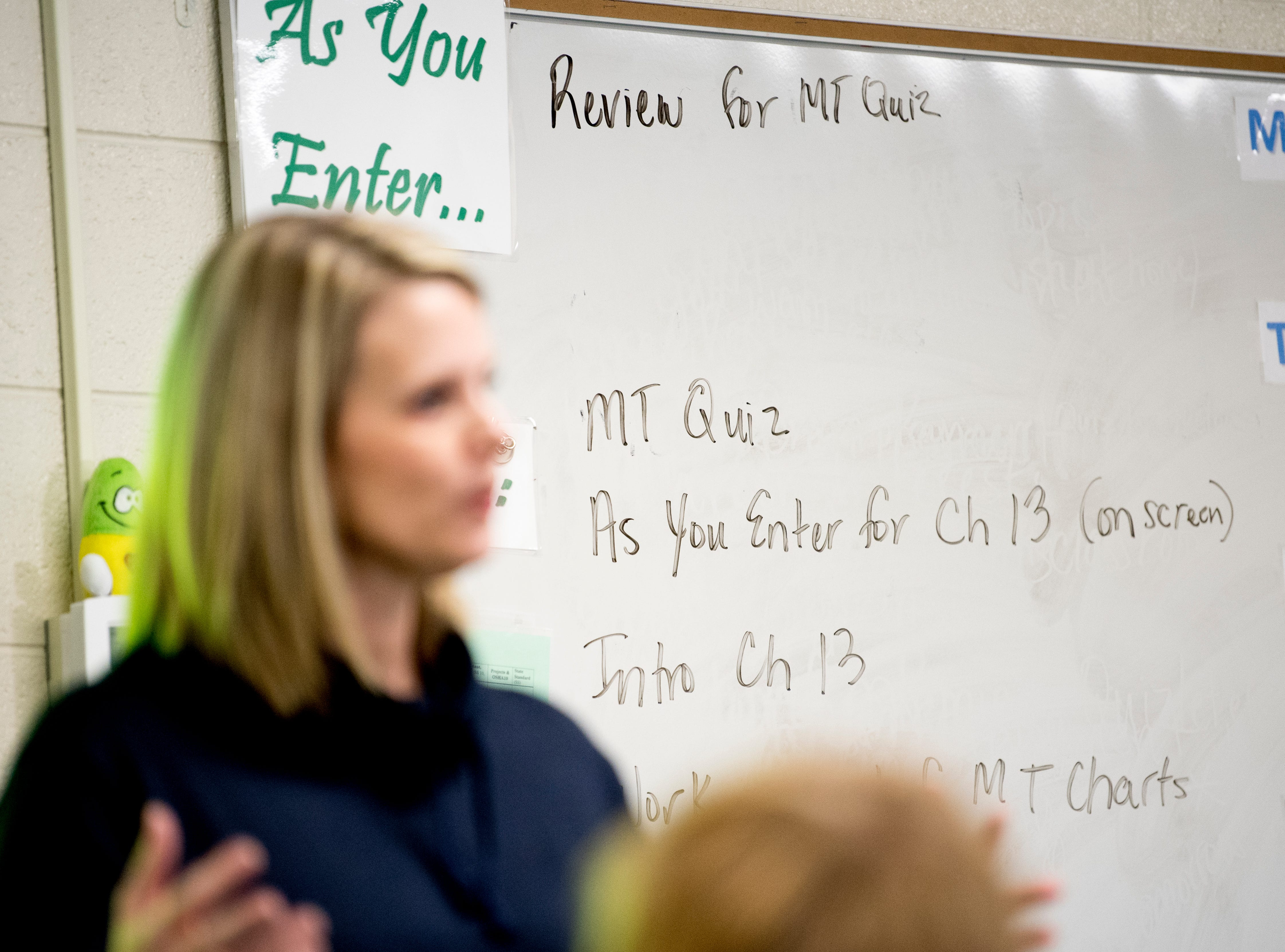 Directions are written on the white board in Anita Crook's medical therapeutics class at Maryville High School in Maryville, Tennessee, on Friday, January 11, 2019. More time with teachers as well as time to study and work on homework are some of the benefits students enjoy when on block schedules.