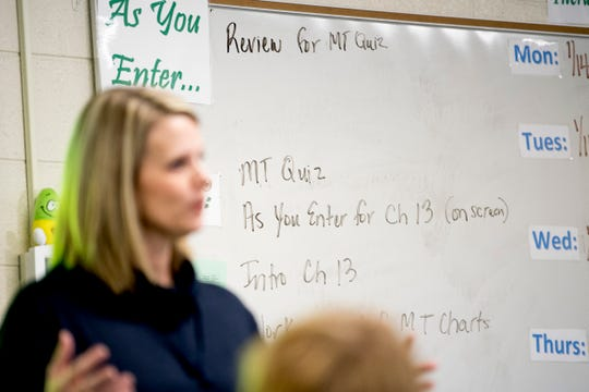 Directions are written on the white board in Anita Crook's medical therapeutics class at Maryville High School.