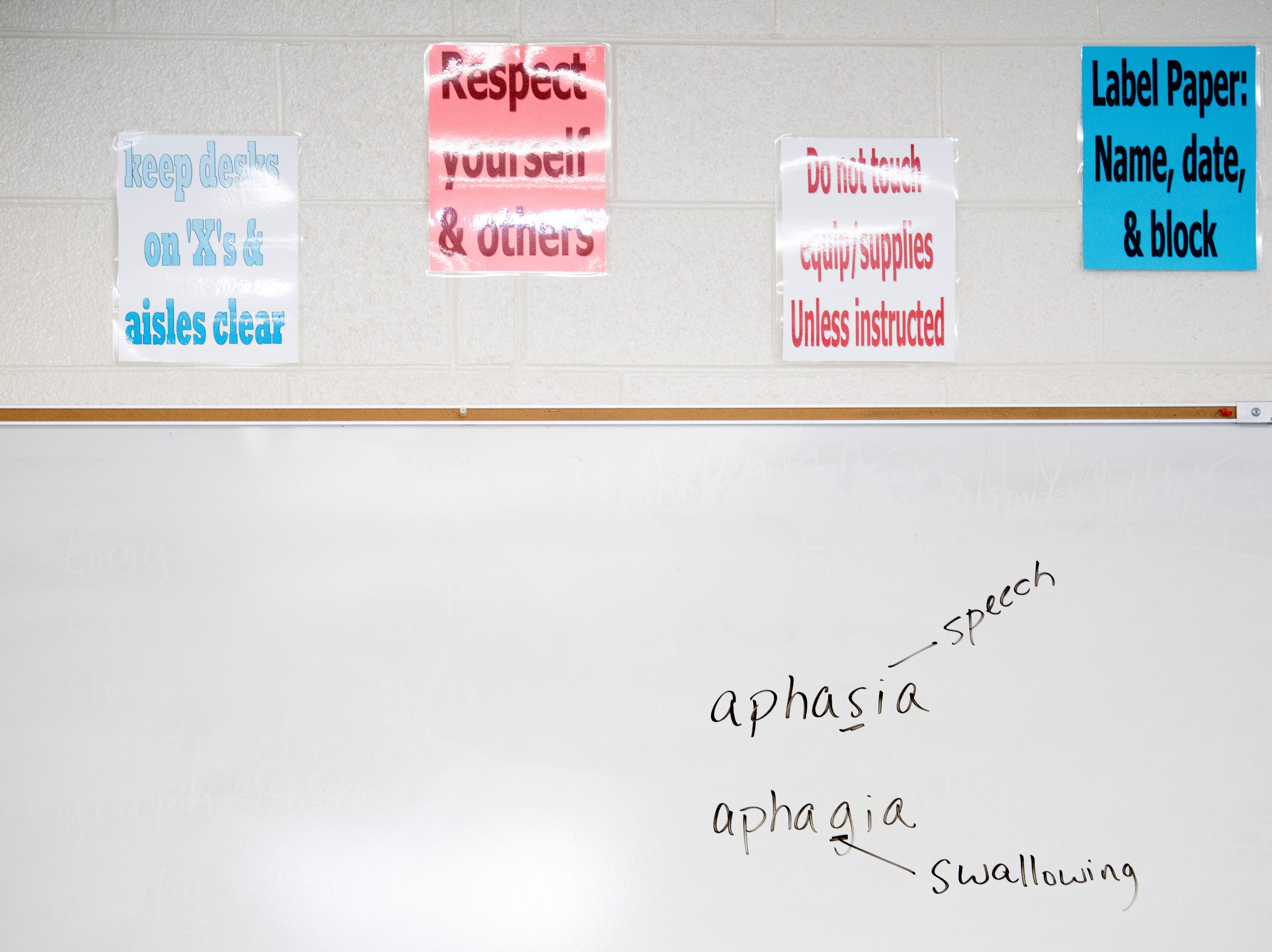 Posters and a white board hang on the wall in Anita Crook's medical therapeutics class at Maryville High School in Maryville, Tennessee on Friday, January 11, 2019. More time with teachers as well as time to study and work on homework are some of the benefits students enjoy when on block schedules.