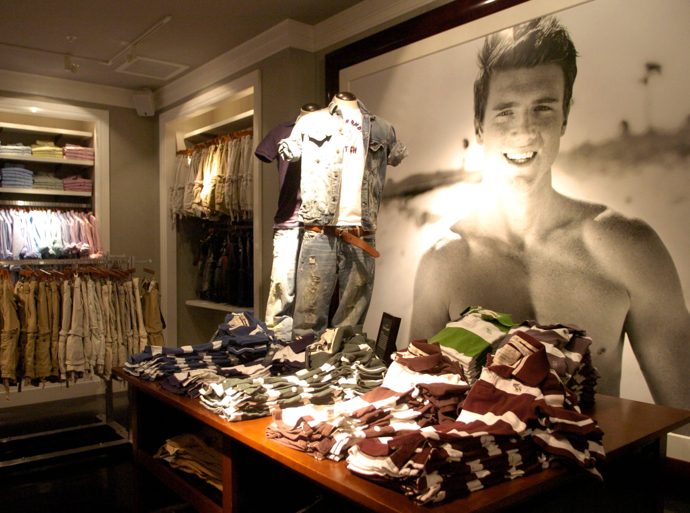 Clothing on display at the Abercrombie & Fitch clothing store in West Town Mall. 2006