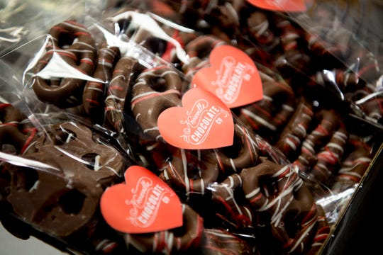 Chocolate covered pretzels for Valentine's Day for sale at Bradley's Chocolate & Gifts on 141 N. Peters Road in West Knoxville, Tennessee on Wednesday, January 9, 2019. Knoxville Chocolate Company has moved their World's Fair kitchen to their new facility for more space and increased capacity.