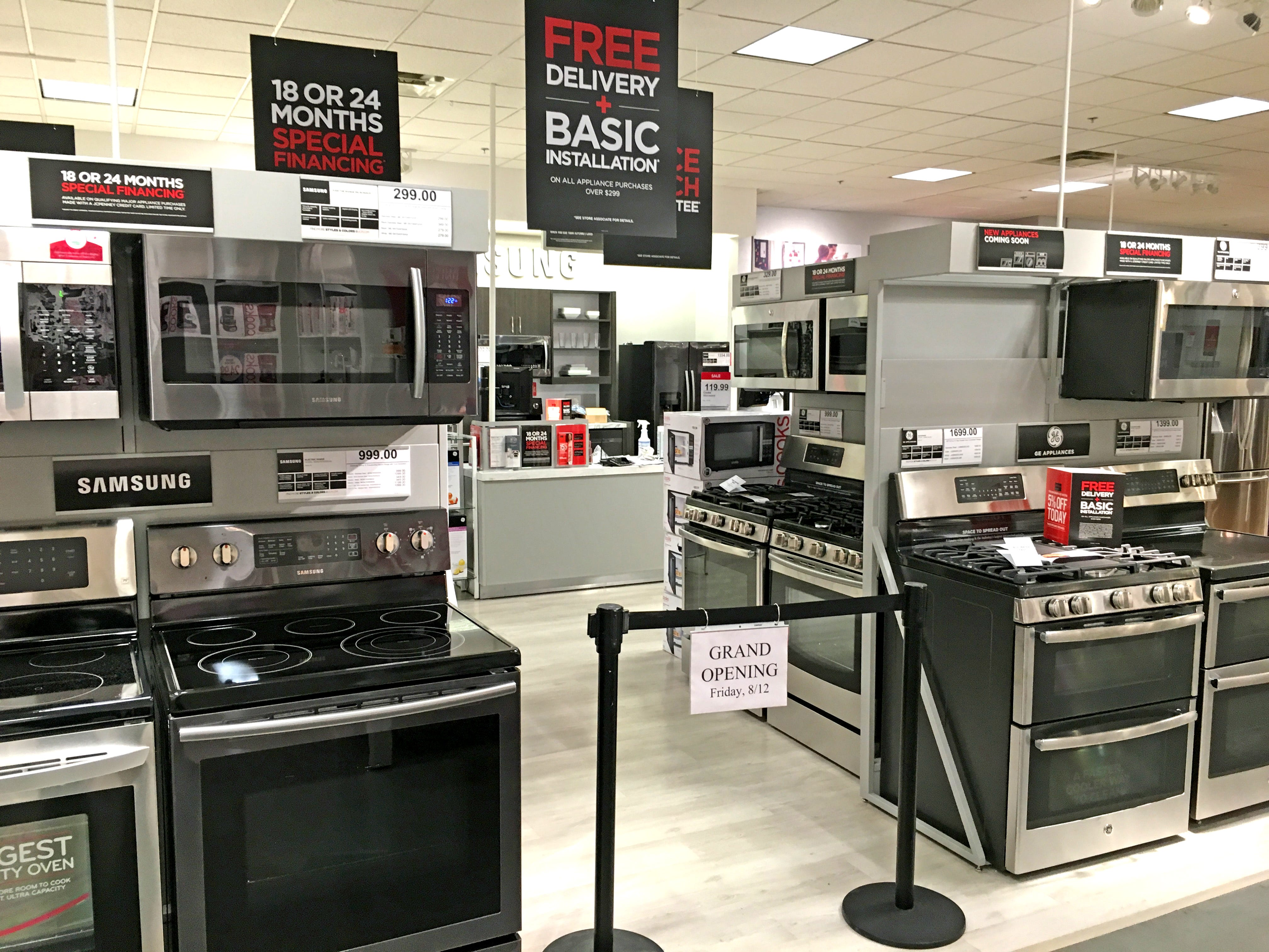 The new major appliance department opens Friday, Aug. 12, at all three Knoxville J.C. Penney department stores, including this one at the West Town Mall location.