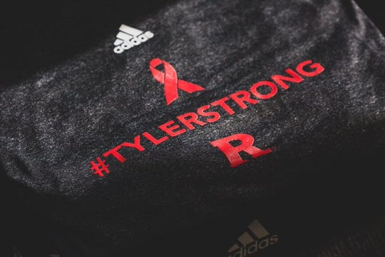 The #TylerStrong warmup shirt the Rutgers men's basketball team wore in remembrance of Purdue fan Tyler Trent before the men's basketball game in West Lafayette, Indiana, on Jan. 15, 2019.