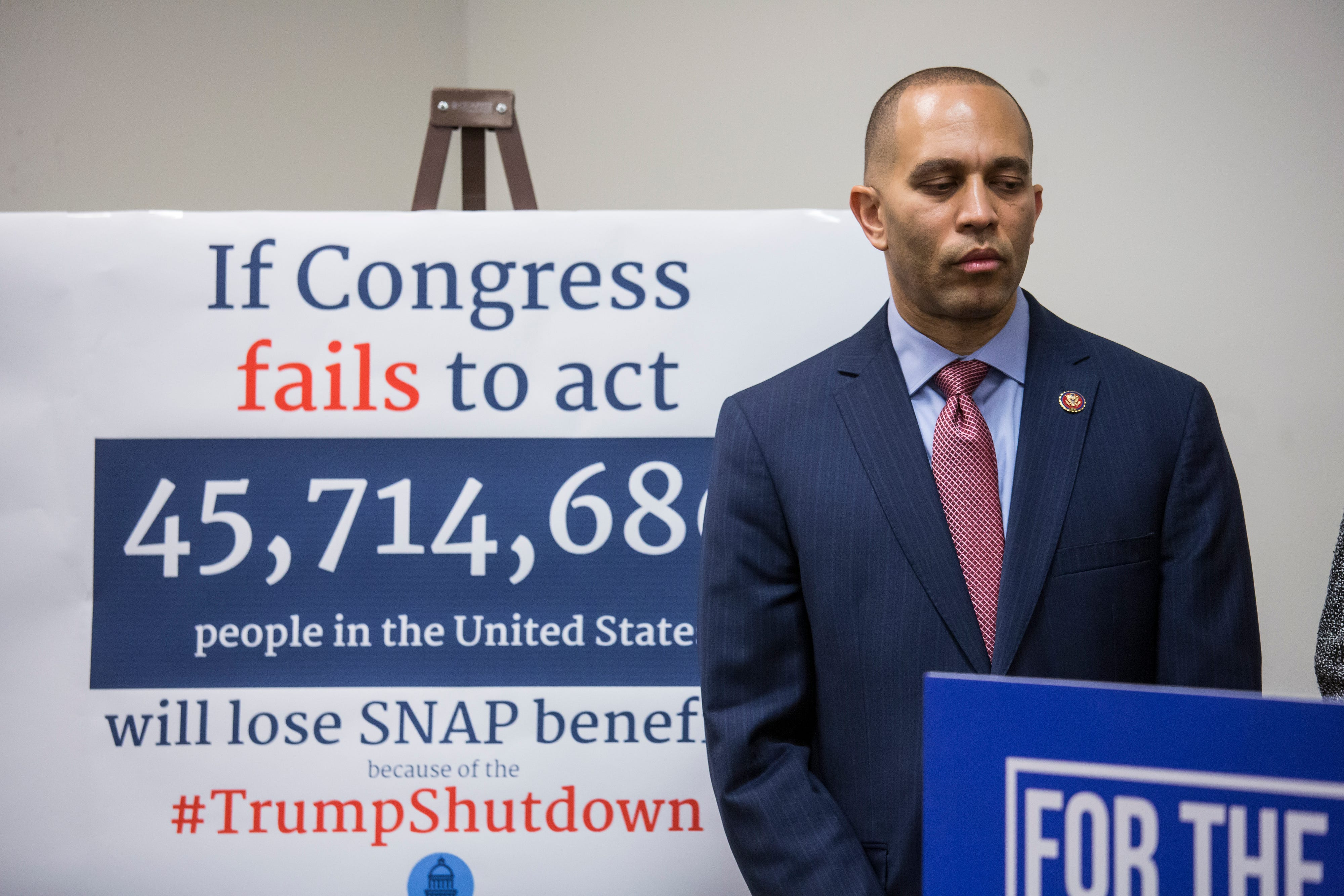 Democratic Caucus Chairman Rep. Hakeem Jeffries of N.Y., waits to speak to reporters about the partial government shutdown following a Democratic strategy session on Capitol Hill in Washington on Tuesday.