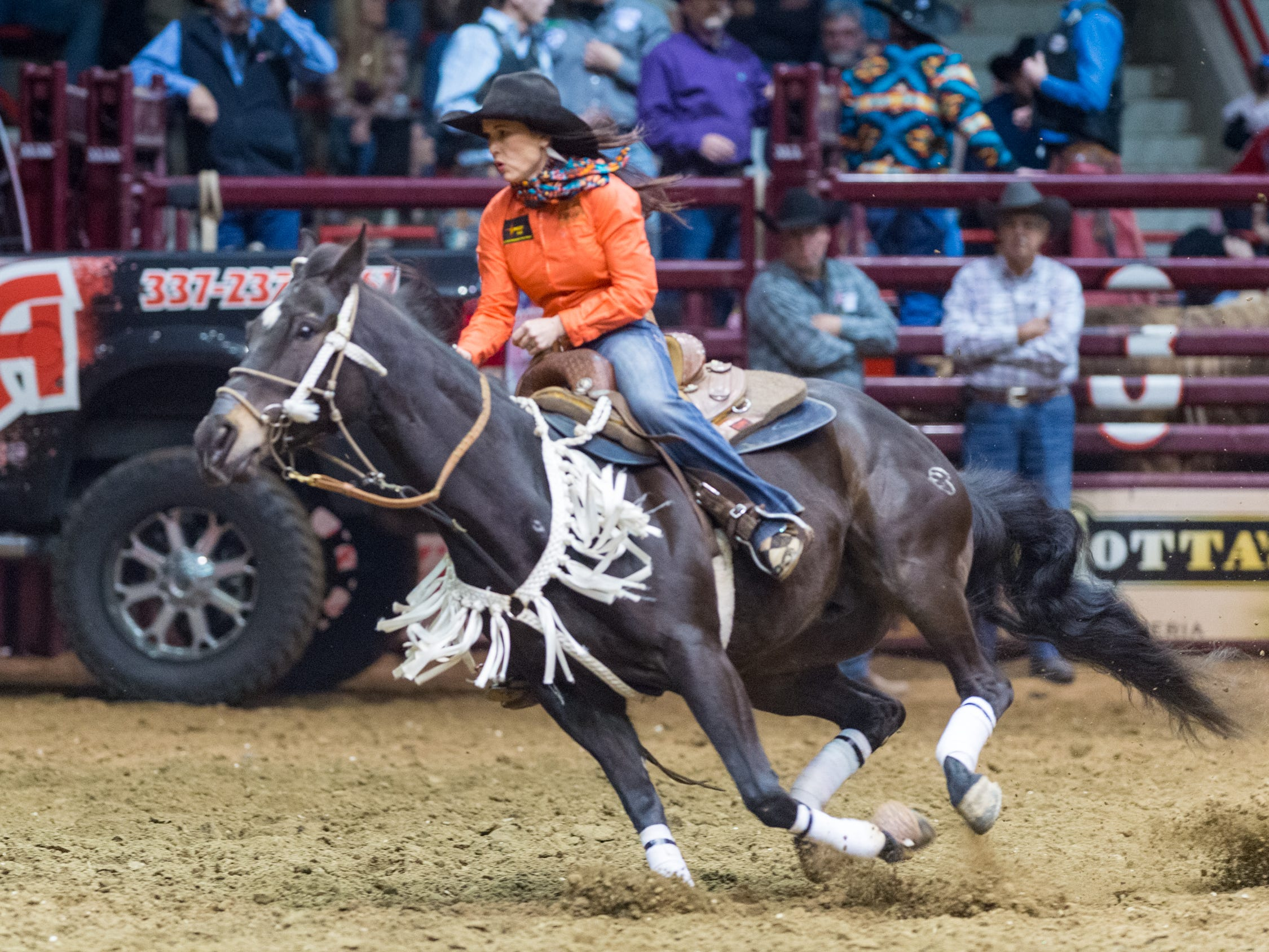 Barrel racer Beth Hopkins Ellzey at the Mid Winter Fair and Pro Rodeo at Blackham Coliseum. Saturday, Jan. 12, 2019.