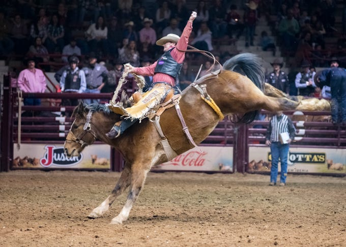Saddle Bronc rider Joey Sonnie III competing at the Mid Winter Fair and Pro Rodeo at Blackham Coliseum. Saturday, Jan. 12, 2019.