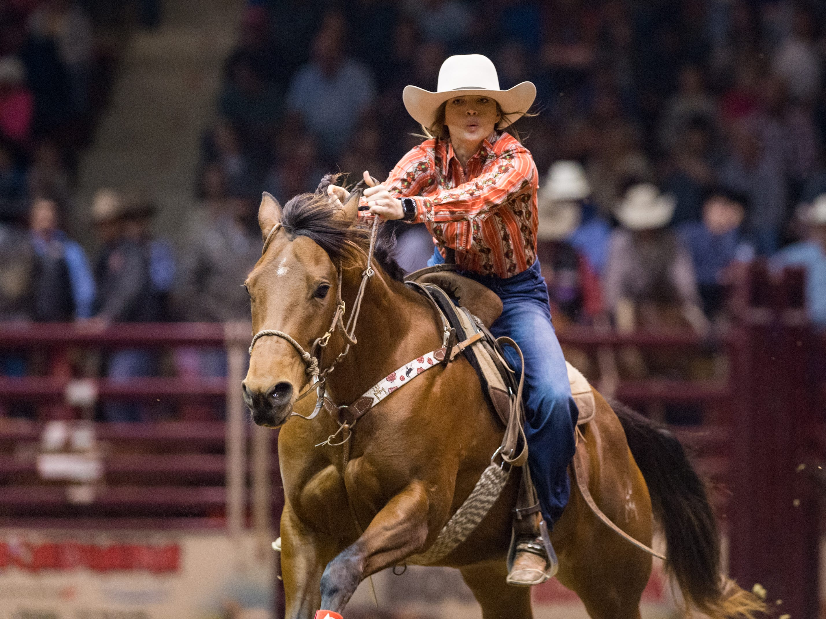Barrel racer Meagan Laviolette from Rayne, LA. competing at the Mid Winter Fair and Pro Rodeo at Blackham Coliseum. Saturday, Jan. 12, 2019.