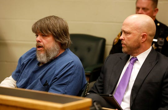 Jamie K. Gregory, left, speaks in court Tuesday morning, Jan. 15, 2019, during his change of plea and sentencing hearing in Fairfield County Common Pleas Court in Lancaster. Gregory was sentenced to seven year in prison with three years suspended and five years of community control for aggravated vehicular homicide, failure to stop after an accident, driving while under a license suspension and burglary. At right is Gregory's attorney Aaron Conrad.