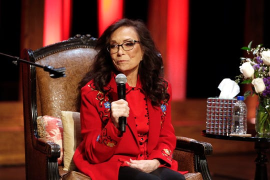 Country music star Loretta Lynn answers questions during an announcement on the stage of the Grand Ole Opry House Monday, Jan. 14, 2019, in Nashville, Tenn. Lynn announced she will celebrate her 87th birthday April 1 with an all-star tribute concert featuring Jack White, Garth Brooks, George Strait and many more.