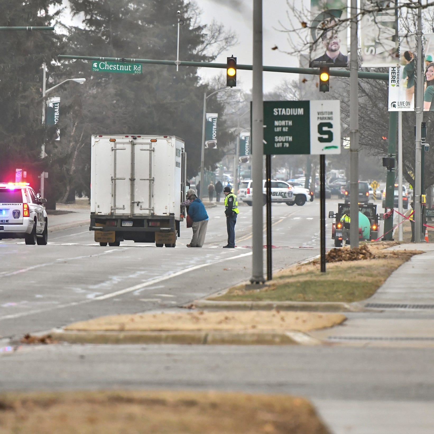 Moped rider killed in crash with salt truck on Michigan State's campus, police say