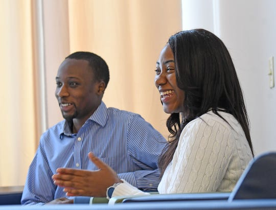 North End Community Improvement Collaborative's Edward Akinyemi, Research and Development Coordinator and Leona Smith, Executive Coordinator, talk Tuesday about the efforts of the group to find and cultivate African-American leadership in the area.