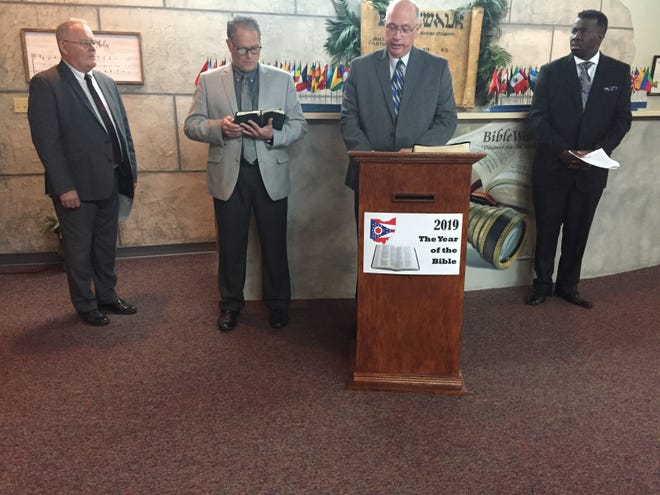 (L-r) Pastors Randy Raynes, Jerry Laudermilk, Steve Brenneman and Mark Cobb were among clergy proclaiming 2019 as the Year of the Bible on Tuesday.