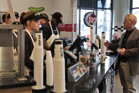 The first Jimmy John's location in Marion opened its doors Tuesday morning. It is located where the Steve's Dakota Grill used to be on Marion-Mount Gilead Road.
