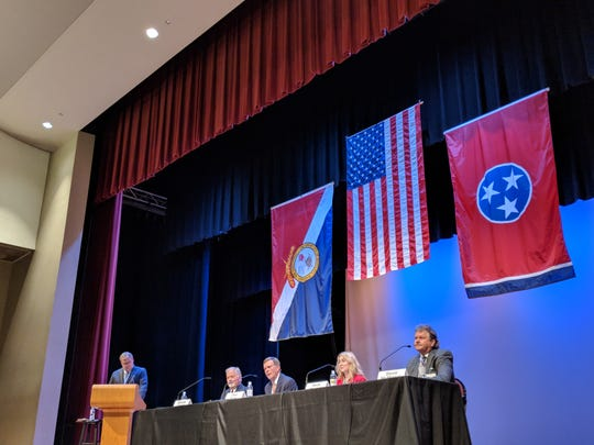 The Republican candidates running in a Jan. 24 special primary election for the state Senate District 32 seat, talked issues at a forum in Bartlett on Jan. 14, 2019. Former Shelby County commissioners Heidi Shafer and George Chism, former state Rep. Steve McManus and businessman Paul Rose are the Republican contenders in the race.