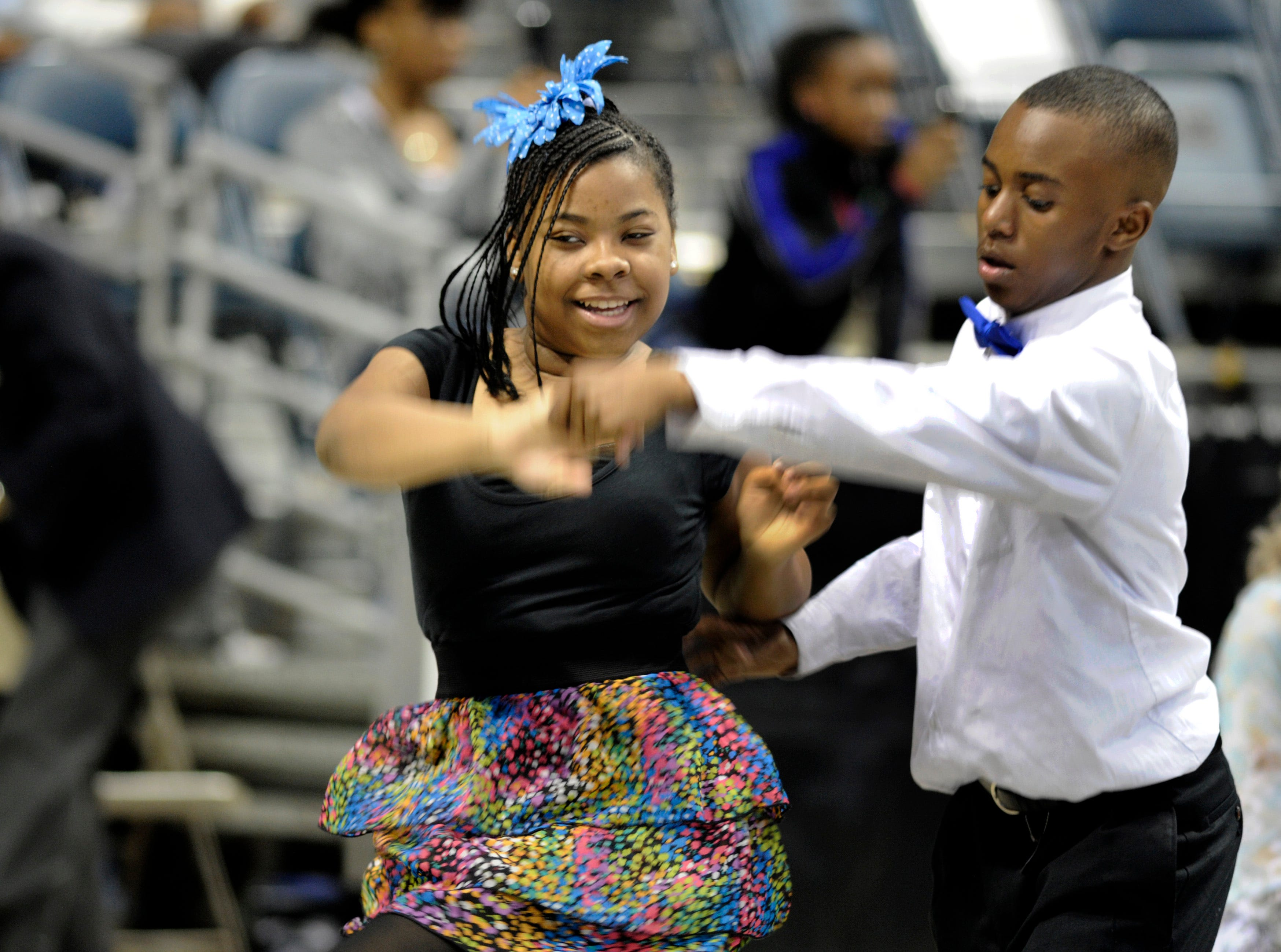 2012: Rose Oliver and Josiah Baskin of Hope Fortis School in Milwaukee dance the jitterbug during the Danceworks Mad Hot Ballroom and Tap competition at the Bradley Center.