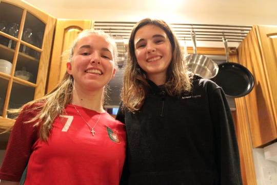 """Jimena Madoz Ontanon of Spain (right), shown here with her host """"sister,"""" Rosalie Johnson, has become a fan of fried cheese curds, bratwurst and sloppy Joe sandwiches."""