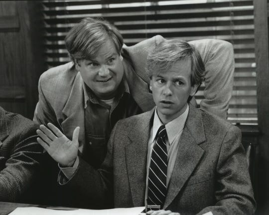 """Tommy Callahan (Chris Farley, left) sets out to hit the road with his late father's assistant (David Spade) to save the family business in """"Tommy Boy."""""""