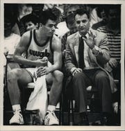 UW-Green Bay guard Tony Bennett with his father, Dick, the team's head coach.
