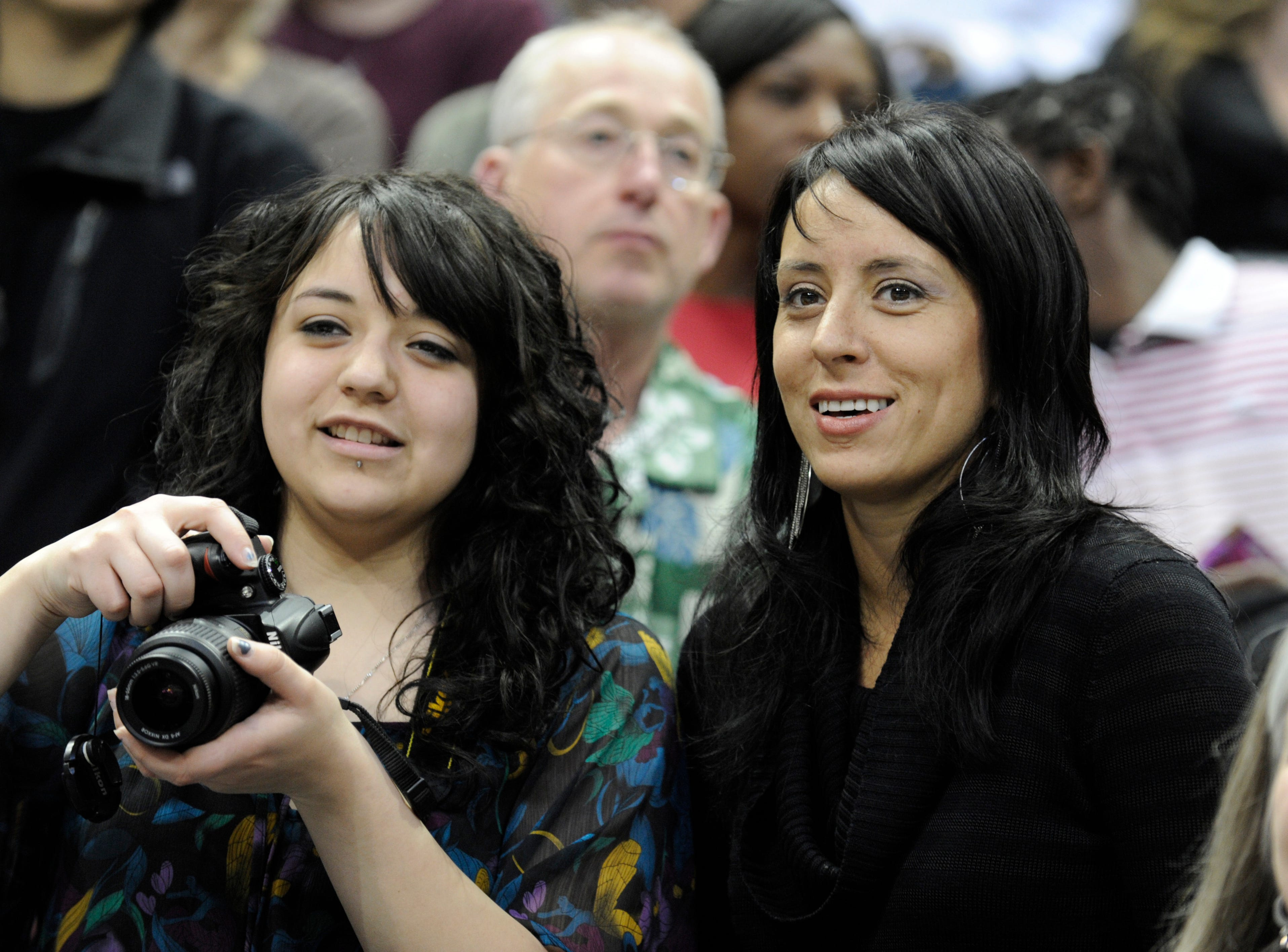 2012: Cheyenne Gilles (left) and Annamaria Shields watch students from Tippecanoe School perform, including Cheyenne's daughter Aishah Cartagena during the Danceworks Mad Hot Ballroom and Tap competition at the Bradley Center.