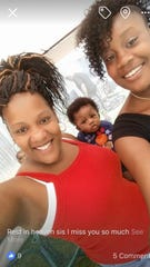 Tiffany Tate (left) with her infant son Alex Blalock and daughter Octayvia Fountain.