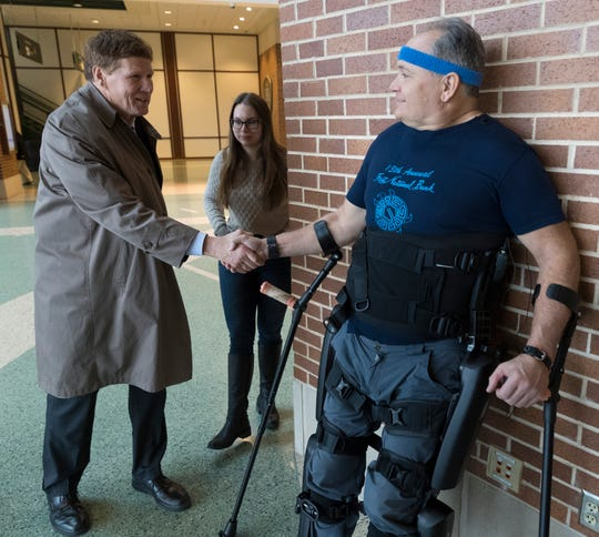 For 27 years this paralyzed Air Force veteran could not walk. Now a robotic exoskeleton has him on his feet.