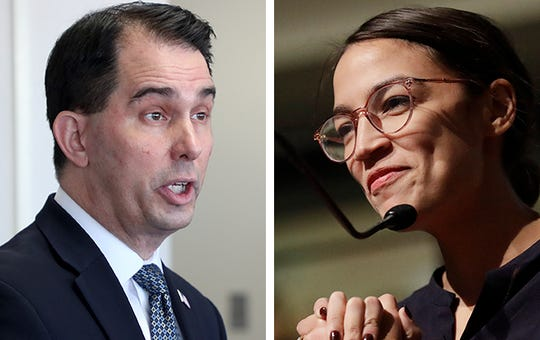 Former Wisconsin Gov. Scott Walker (left) and U.S. Rep. Alexandria Ocasio-Cortez (D-N.Y.)