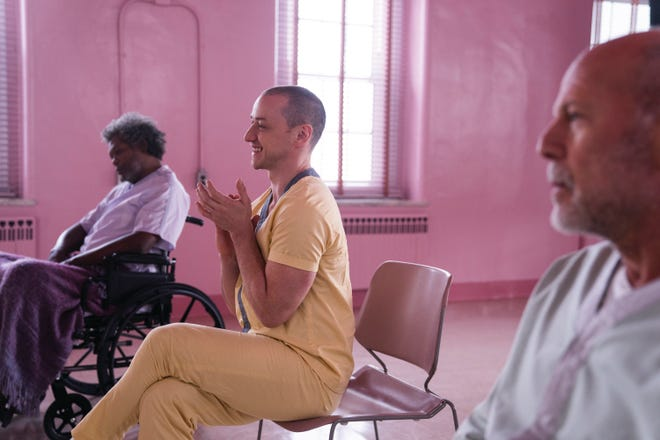 """Mr. Glass (Samuel L. Jackson, from left), Kevin Wendell Crumb/The Horde (James McAvoy) and David Dunn/The Overseer (Bruce Willis) are brought together for a therapy program gone horribly wrong in """"Glass."""""""