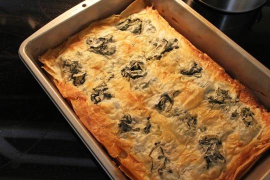 The Albanian byrek bakes up golden and crispy.