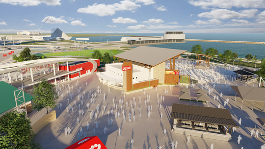 Summerfest Tuesday released new renderings and details for a redesigned Uline Warehouse stage on the north end of Maier Festival Park. The stage, designed by Eppstein Uhen Architects, is part of a seven-year sponsorship extension deal with Pleasant Prairie-based Uline unveiled in late 2017. The stage will be open by Summerfest's first day, June 26, this year.
