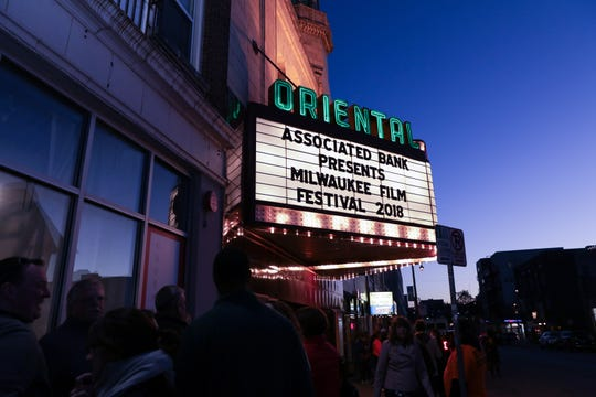 Moviegoers lineup for the 2018 Milwaukee Film Festival at the Oriental Theatre.