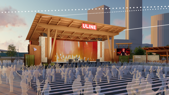 Summerfest unveiled new renderings for its built-from-scratch redesign of the Uline Warehouse stage on the north end of Maier Festival Park. The stage will have its first video screen and elevated VIP area with seats, a bar and private restrooms.