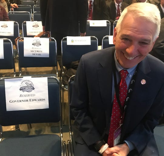Rivals Gov. John Bel Edwards and Congressman Ralph Abraham were seated next to each other for President Trump's speech in New Orleans on Jan. 14.