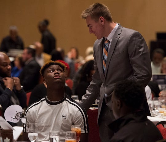 Auburn commit George Pickens and Auburn signee Bo Nix chat during the Mr. Football awards banquet in Montgomery, Ala., on Tuesday, Jan. 15, 2019. Pickens flipped to Georgia on National Signing Day.