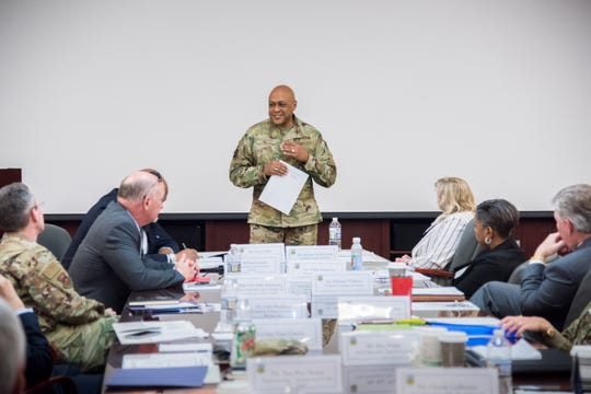 U.S. Air Force Lt. Gen. Anthony Cotton, commander and president of Air University, speaks about the mission of AU and the university's role in the River Region, during a K-12 Education Summit at Maxwell Air Force Base, Ala., Jan. 9, 2019.