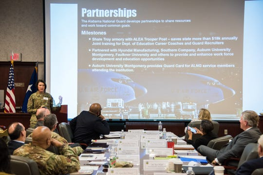 Maj. Gen. Sheryl Gordon, Alabama National Guard Adjutant general, shares information about the Alabama National Guard and its impact across the state during a K-12 Education Summit at Maxwell Air Force Base, Ala., Jan. 9, 2019.