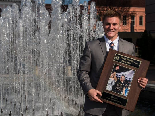 Pinson Valley's Bo Nix, an Auburn signee, wins Alabama Mr. Football during the Mr. Football awards banquet in Montgomery, Ala., on Tuesday, Jan. 15, 2019.