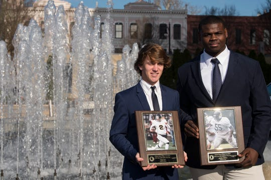 Autauga Academy's Tripp Carr and Adarius Tolliver were named AISA back and lineman of the year during the Mr. Football awards banquet in Montgomery, Ala., on Tuesday, Jan. 15, 2019.