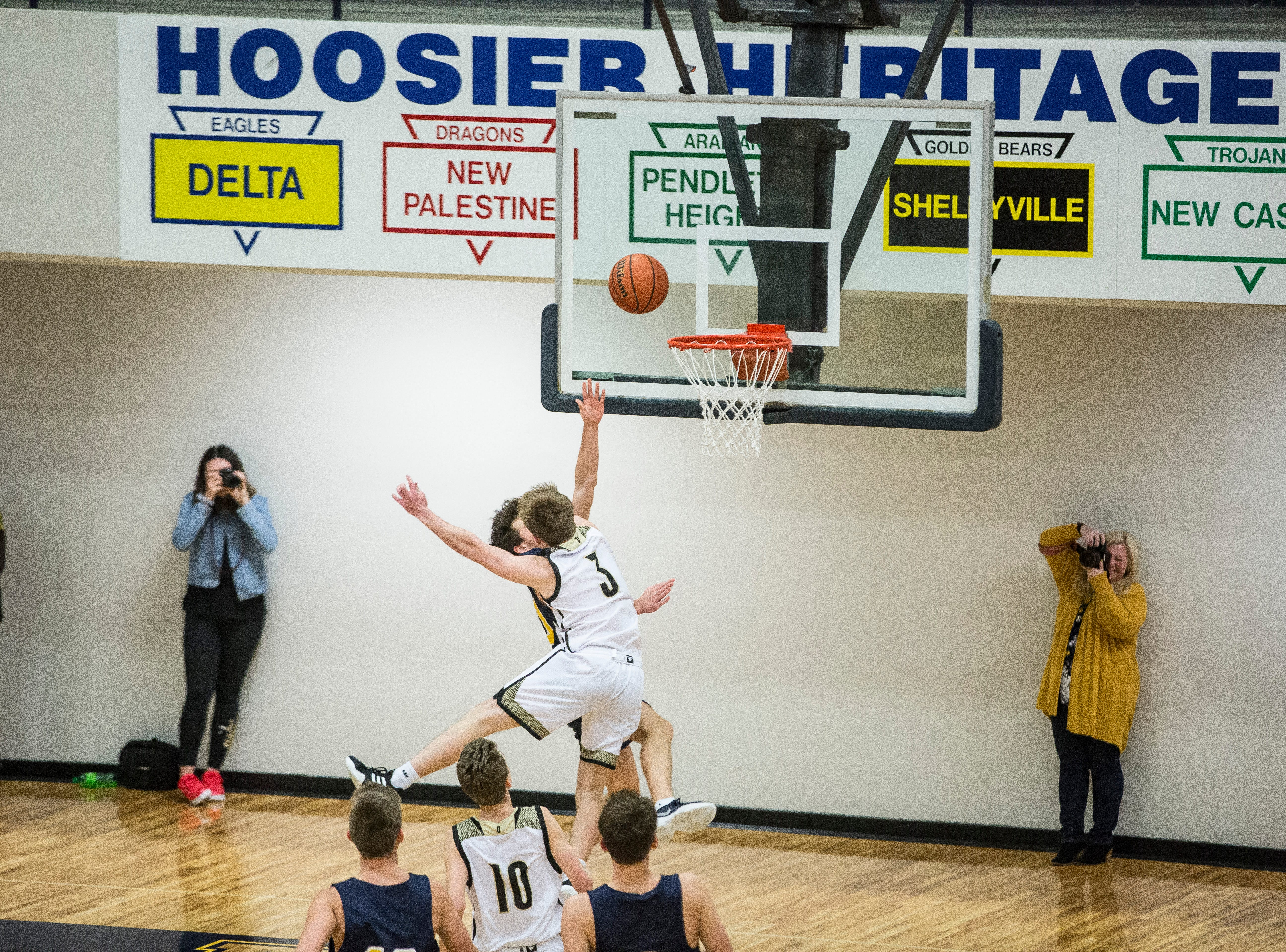 Delta takes on Daleville during the Delaware County Basketball Tournament championship game Monday night at Delta High School. Delta won the game 85-48.