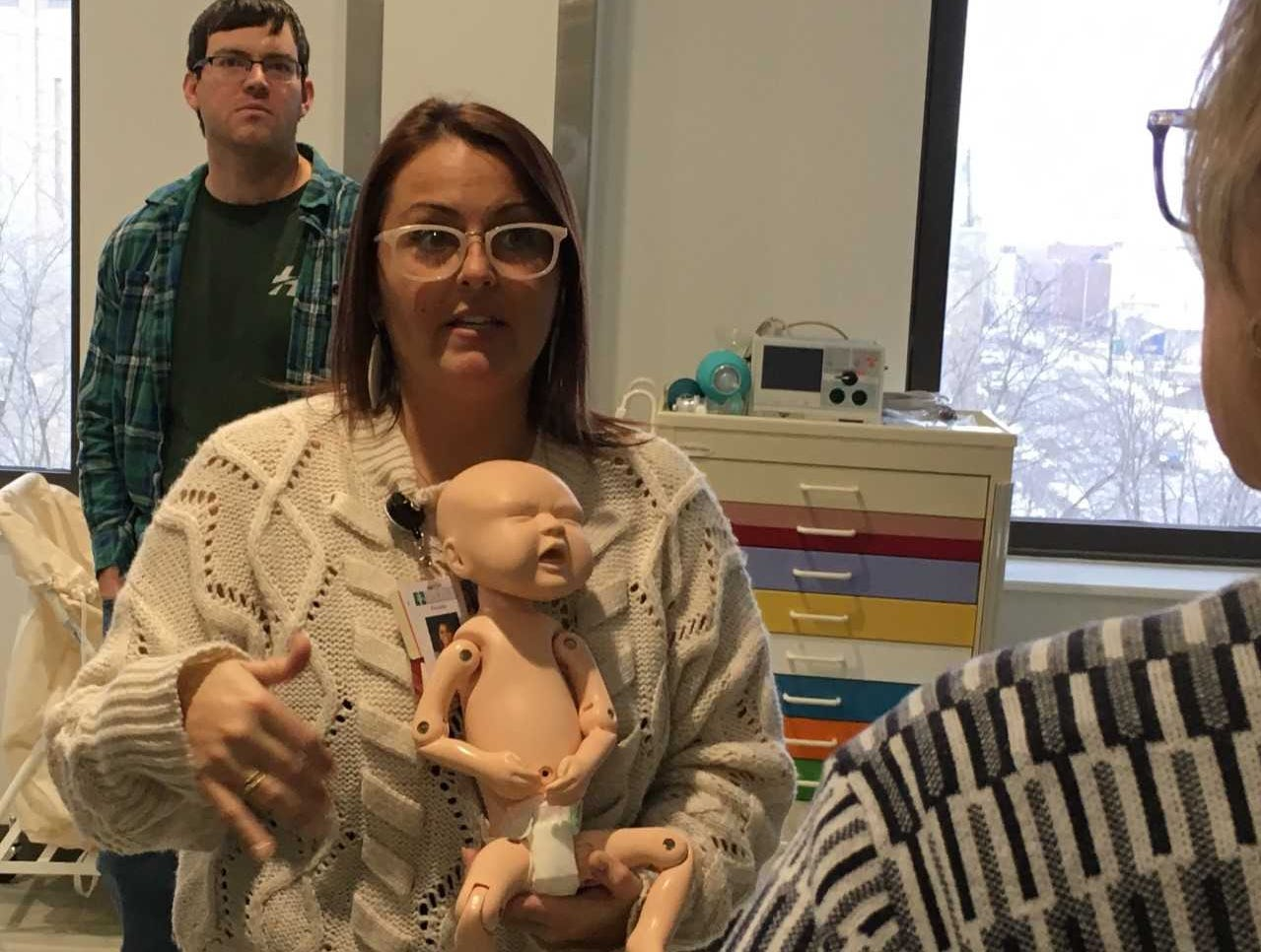 A baby patient simulator is displayed during the Ivy Tech Community College School of Nursing ribbon cutting on Tuesday.