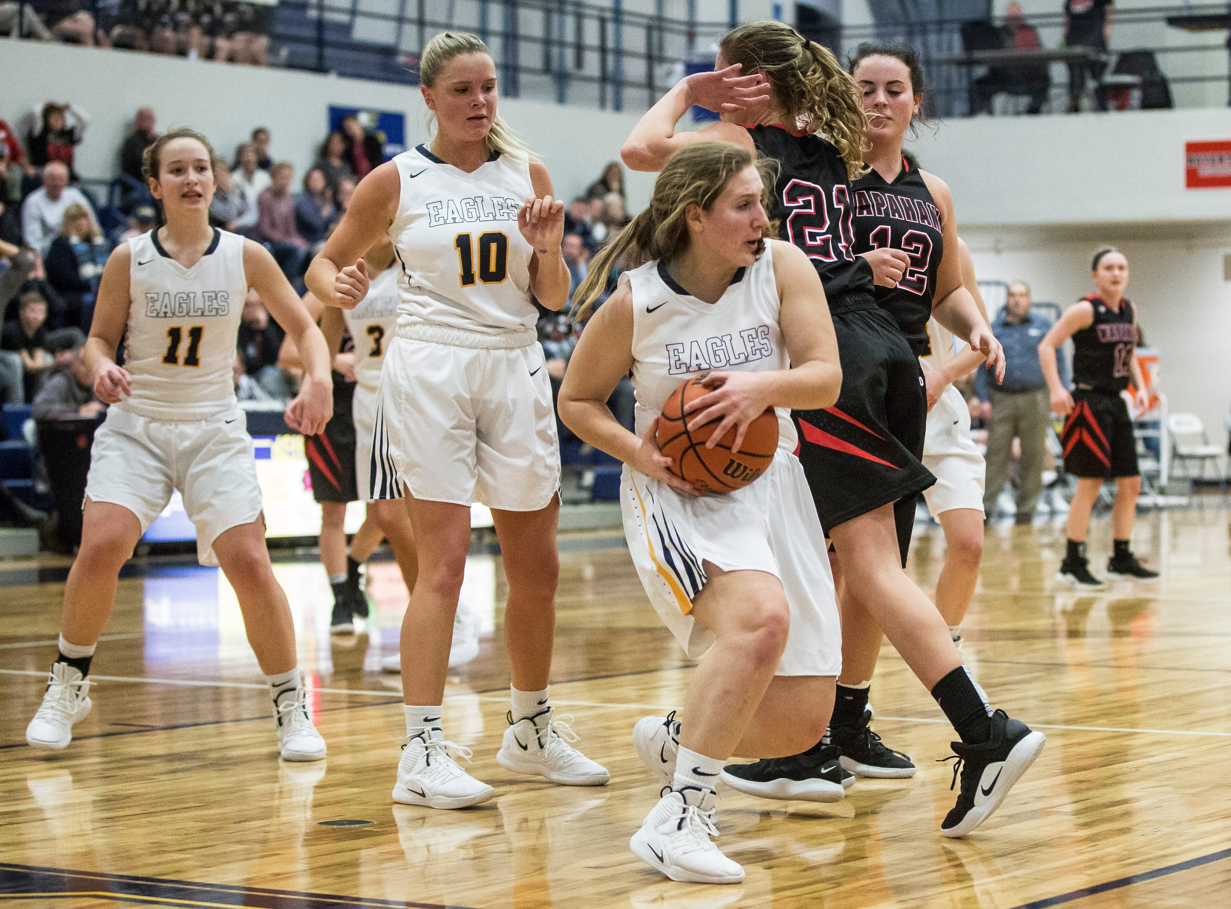 Delta's girls team takes on Wapahni for the Delaware County Basketball Tournament Championship Monday evening. Delta won the title with a final score of 42-32.