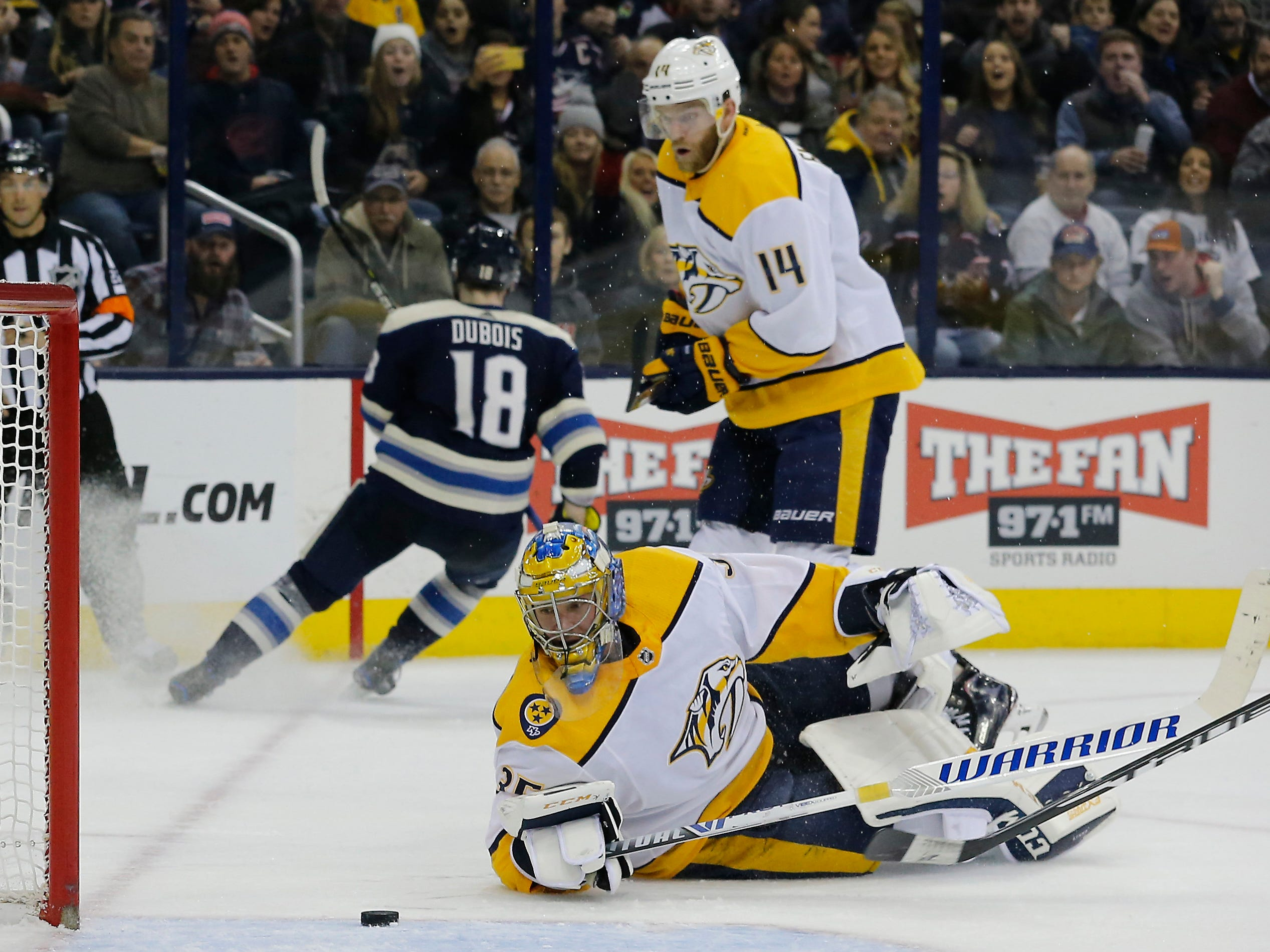 Nashville Predators goalie Pekka Rinne (35) tracks the loose puck in the crease against the Columbus Blue Jackets during the second period at Nationwide Arena.