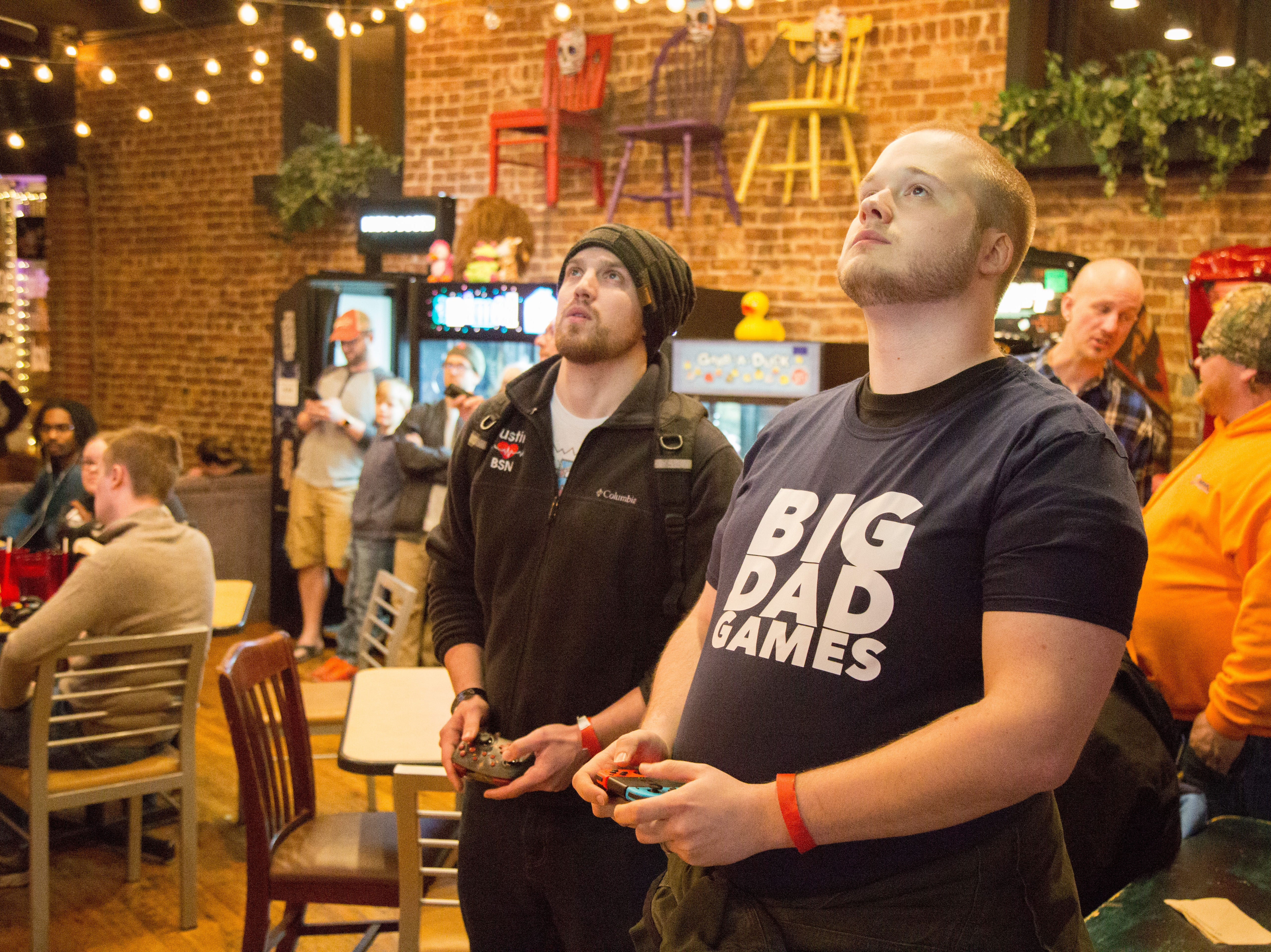 Competitors go for the win during a Super Smash Brothers Ultimate Tournament presented by Big Dad Games at Filly's Game and Grill in Gallatin on Monday, Jan 14.
