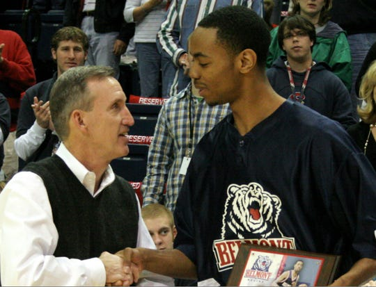 """Brian """"Penny"""" Collins, right, scored 1,199 points while playing at Belmont for coach Rick Byrd, left."""