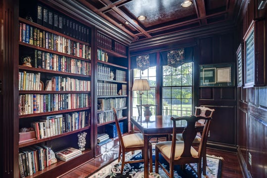 The study, added when the house was expanded, is all cherry wood.